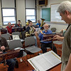 Dr. Michael Stephens, Chadron State College music faculty, conducts a group of high school music faculty during an instrumental reading session. The session was sponsored by Hill Music of Casper, Wyo., and was part of the High Plains Band and Choir Festival at Chadron State College. (Photo by Daniel Binkard/Chadron State College)