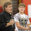 Hemingford High School student Tyler Huddle, at right, listens as Roger Mays, Chadron State College director of theatre, gives directions in stage combat. The topic was one of many presented by CSC faculty and students during the annual Theatre Day on Oct. 4. (Photo by Justin Haag)