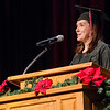 Janel Baily delivers the opening moment of reflection during Chadron State College's commencement ceremony for master degree recipients Dec. 13. Baily, CSC head volleyball coach, was awarded a Master of Science in Organizational Management degree. (Photo by Tiffany Valandra)