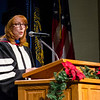 Dr. Katherine Bahr delivers the message to the graduating class for Chadron State College graduates receiving a master's degrees Dec. 13. (Photo by Tiffany Valandra)