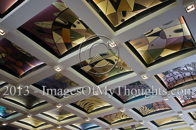 The decorated ceiling in the main hall of the President's Residence. Jerusalem, Israel. 14-Jan-2013.  President Shimon Peres grants letters of appointment to twelve new judges at the Presidents' Residence in the presence of Justice Minister Ya'akov Ne'eman and the Honorable Asher Grunis, President of the Supreme Court and High Court of Justice.