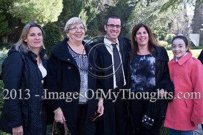Traffic Judge Shmuel Melamed, to be appointed Magistrate Court judge in the Tel-Aviv District, poses for a photograph with family in the garden of the President's Residence. Jerusalem, Israel. 14-Jan-2013.  President Shimon Peres grants letters of appointment to twelve new judges at the Presidents' Residence in the presence of Justice Minister Ya'akov Ne'eman and the Honorable Asher Grunis, President of the Supreme Court and High Court of Justice.
