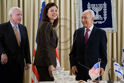 President Shimon Peres welcomes Senator Kelly Ayotte to Israel and the President's Residence at the onset of a work meeting to discuss strengthening strategic relations between Israel and the US. Jerusalem, Israel. 19-Jan-2013.  President Shimon Peres meets with US Senate delegation led by 2008 Republican candidate for Presidency, Sen. John McCain. Present are Senators Ayotte, Blumenthal, Whitehouse, Coons, senior adviser Brose and Ambassador Dan Shapira.