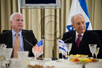 President Shimon Peres makes a statement at the onset of a work meeting with a Senate Delegation to discuss strengthening strategic relations between Israel and the US. Jerusalem, Israel. 19-Jan-2013.  President Shimon Peres meets with US Senate delegation led by 2008 Republican candidate for Presidency, Sen. John McCain. Present are Senators Ayotte, Blumenthal, Whitehouse, Coons, senior adviser Brose and Ambassador Dan Shapira.