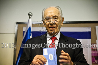 """President Shimon Peres executes his civic duty casting his vote for the 19th Knesset elections. Peres said """"I am proud and I am hopeful"""" and urged all citizens of Israel to go out and vote. Jerusalem, Israel. 22-Jan-2013.  The 19th Knesset elections are underway in Israel at 10,128 voting stations for 5,656,705 eligible voters. Reigning PM Netanyahu and the Likud Beteynu Party are expected to win the elections but with perhaps weakened political powers."""