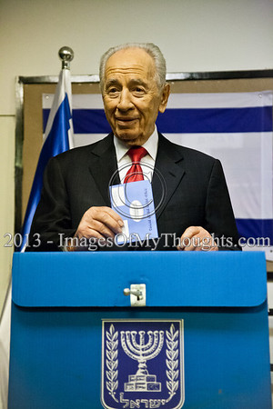 "President Shimon Peres executes his civic duty casting his vote for the 19th Knesset elections. Peres said ""I am proud and I am hopeful"" and urged all citizens of Israel to go out and vote. Jerusalem, Israel. 22-Jan-2013.  The 19th Knesset elections are underway in Israel at 10,128 voting stations for 5,656,705 eligible voters. Reigning PM Netanyahu and the Likud Beteynu Party are expected to win the elections but with perhaps weakened political powers."