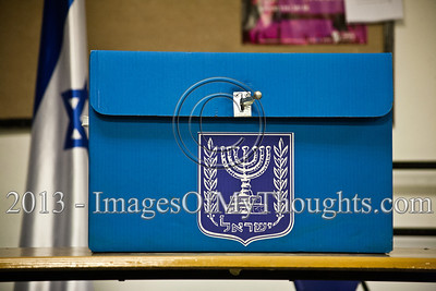 A sealed ballot box is ready for the 19th Knesset elections at a Jerusalem voting station. Jerusalem, Israel. 22-Jan-2013.  The 19th Knesset elections are underway in Israel at 10,128 voting stations for 5,656,705 eligible voters. Reigning PM Netanyahu and the Likud Beteynu Party are expected to win the elections but with perhaps weakened political powers.