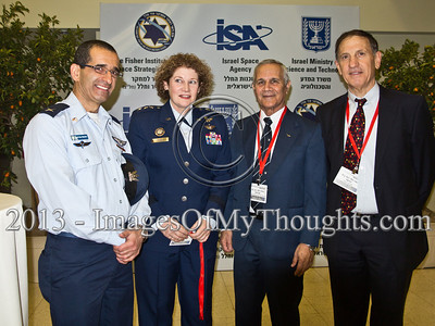 Right-to-left; IAF Ret. Brig. Gen. Asaf Agmon, IAF Ret. Maj. Gen. Herzl Bodinger, Lieut. Gen. Susan Helms, Commander US 14th Air Force and Air Force Space Command, former NASA astronaut and unknown IAF Brigadier General pose for a photo. Hertzeliya, Israel. 29-Jan-2013.  Eighth Annual Ilan Ramon International Space Conference convenes commemorating a decade to Columbia Mission STS-107 with senior representatives of 14 space agencies including NASA Administrator and astronauts from the US, Japan, Russia and Kazakhstan.