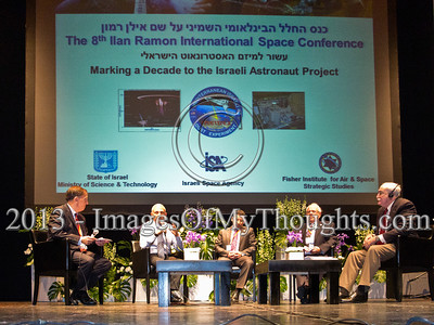 A panel with Sean O'Keefe, former Administrator of NASA (R), Aby Har-Even, former director of Israel Space Agency (2nd R) and Eitan Ben-Eliyahu, former commander of the Israeli Air Force (3rd R), who all served during STS-107, commemorate Ilan Ramon. Hertzeliya, Israel. 29-Jan-2013.  Eighth Annual Ilan Ramon International Space Conference convenes commemorating a decade to Columbia Mission STS-107 with senior representatives of 14 space agencies including NASA Administrator and astronauts from the US, Japan, Russia and Kazakhstan.