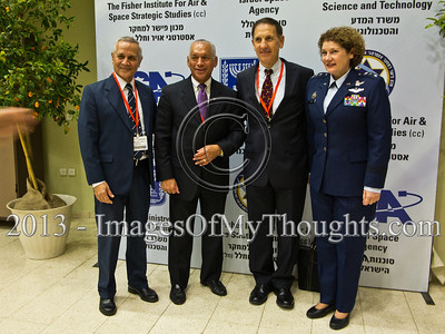 R-to-L; Lieut. Gen. Susan Helms, former NASA astronaut, IAF Ret. Brig. Gen. Asaf Agmon, Retired Marine Corps Maj. Gen. Charles Frank Bolden, Jr., NASA Administrator and IAF Ret. Maj. Gen. Herzl Bodinger pose for a photo. Hertzeliya, Israel. 29-Jan-2013.  Eighth Annual Ilan Ramon International Space Conference convenes commemorating a decade to Columbia Mission STS-107 with senior representatives of 14 space agencies including NASA Administrator and astronauts from the US, Japan, Russia and Kazakhstan. Hertzeliya, Israel. 29-Jan-2013.
