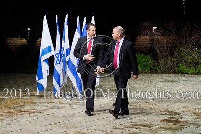 Incumbent Minister of Environmental Protection in outgoing government, Gilad Erdan (L), representing Likud-Beitenu, is escorted into the President's Residence for talks on forming the new government. Jerusalem, Israel. 30-Jan-2013.  Representatives of Likud-Beitenu Gideon Sa'ar, Gilad Erdan, David Rotem, Yuval Steinitz and Ze'ev Elkin arrive at the president's residence to recommend incumbent Prime Minister Benjamin Netanyahu to assemble the 19th Knesset coalition government.