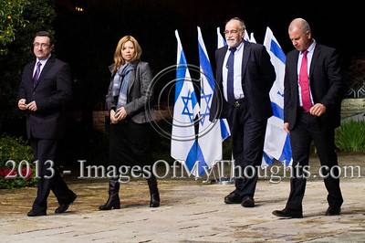 Incumbent Member of outgoing Knesset, David Rotem (2nd right), representing Likud-Beitenu, is escorted into the President's Residence for talks on forming the new government. Jerusalem, Israel. 30-Jan-2013.  Representatives of Likud-Beitenu Gideon Sa'ar, Gilad Erdan, David Rotem, Yuval Steinitz and Ze'ev Elkin arrive at the president's residence to recommend incumbent Prime Minister Benjamin Netanyahu to assemble the 19th Knesset coalition government.
