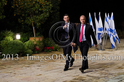 Incumbent Minister of Education in outgoing government, Gideon Saar (L), representing Likud-Beitenu, is escorted into the President's Residence for talks on forming the new government. Jerusalem, Israel. 30-Jan-2013.  Representatives of Likud-Beitenu Gideon Sa'ar, Gilad Erdan, David Rotem, Yuval Steinitz and Ze'ev Elkin arrive at the president's residence to recommend incumbent Prime Minister Benjamin Netanyahu to assemble the 19th Knesset coalition government.