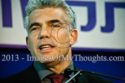 Leader of newly formed Yesh Atid Party, Yair Lapid, briefs the press at the President's Residence following consultations on forming the new government. Lapid has been labeled 'one of the sexiest men in Israel'. Jerusalem, Israel. 30-Jan-2013.  Representatives of Yesh Atid, leader Yair Lapid, Mickey Levy, Pnina Tamano-Shata and Yifat Kariv arrive at the president's residence to recommend incumbent Prime Minister Benjamin Netanyahu to assemble the 19th Knesset coalition government.