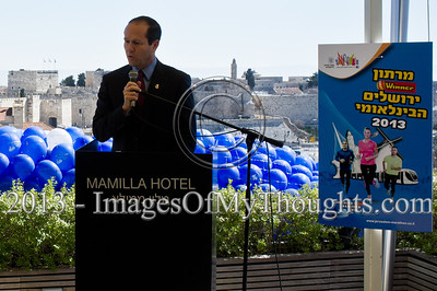 Jerusalem Mayor Nir Barkat briefs the press on the March 1st planned International Marathon in which 17,000 runners are expected to take part from all over the world. Jerusalem, Israel. 4-Feb-2013.  Jerusalem Mayor Nir Barkat holds a press conference on the rooftop of the Mamilla Hotel, overlooking the Old City and many of the city's famous icons, on the upcoming 3rd Jerusalem International Marathon to take place March 1st.