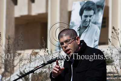 "Yariv Openheimer, Secretary of ""Peace Now"" reads from a dispatch received from President Shimon Peres ""We shall never come to terms with raging hate"". Jerusalem, Israel. 10-Feb-2013.  ""Peace Now"" leads a 30-year commemoration ceremony for activist Emil Grunzweig, murdered in 1983 by a grenade thrown by right-wing activist Yona Avrushmi at demonstrators calling for the resignation of Defense Minister Ariel Sharon."