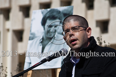 """Yariv Openheimer, Secretary of """"Peace Now"""" reads from a dispatch received from President Shimon Peres """"We shall never come to terms with raging hate"""". Jerusalem, Israel. 10-Feb-2013.  """"Peace Now"""" leads a 30-year commemoration ceremony for activist Emil Grunzweig, murdered in 1983 by a grenade thrown by right-wing activist Yona Avrushmi at demonstrators calling for the resignation of Defense Minister Ariel Sharon."""