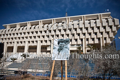 """An enlarged photo of murdered peace activist Emil Grunzweig, displayed before the Central Bank of Israel, on the exact location where he was killed by a hand grenade in the 1983. Jerusalem, Israel. 10-Feb-2013.  """"Peace Now"""" leads a 30-year commemoration ceremony for activist Emil Grunzweig, murdered in 1983 by a grenade thrown by right-wing activist Yona Avrushmi at demonstrators calling for the resignation of Defense Minister Ariel Sharon."""