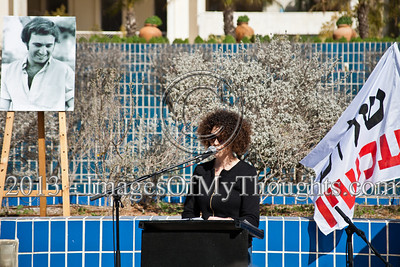 """Niva Grunzweig, daughter of 1983 murdered peace activist Emil Grunzweig, addresses attendees at a commemoration ceremony; """"Our country is to blame for my father's murder for deliberate disregard of the incitement."""" Jerusalem, Israel. 10-Feb-2013.  """"Peace Now"""" leads a 30-year commemoration ceremony for activist Emil Grunzweig, murdered in 1983 by a grenade thrown by right-wing activist Yona Avrushmi at demonstrators calling for the resignation of Defense Minister Ariel Sharon."""