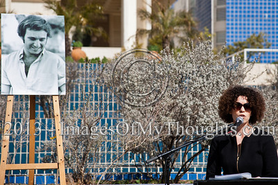 "Niva Grunzweig, daughter of 1983 murdered peace activist Emil Grunzweig, addresses attendees at a commemoration ceremony; ""Our country is to blame for my father's murder for deliberate disregard of the incitement."" Jerusalem, Israel. 10-Feb-2013.  ""Peace Now"" leads a 30-year commemoration ceremony for activist Emil Grunzweig, murdered in 1983 by a grenade thrown by right-wing activist Yona Avrushmi at demonstrators calling for the resignation of Defense Minister Ariel Sharon."