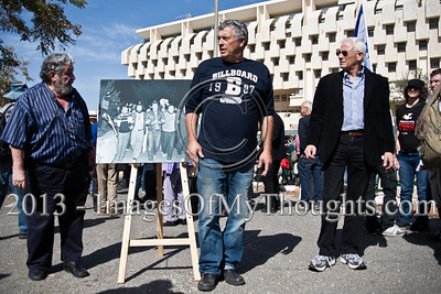 "Participants of a 1983 demonstration partially reenact a well known photo depicting murdered peace activist Emil Grunzweig in what is probably his last photo alive. Jerusalem, Israel. 10-Feb-2013.  ""Peace Now"" leads a 30-year commemoration ceremony for activist Emil Grunzweig, murdered in 1983 by a grenade thrown by right-wing activist Yona Avrushmi at demonstrators calling for the resignation of Defense Minister Ariel Sharon."
