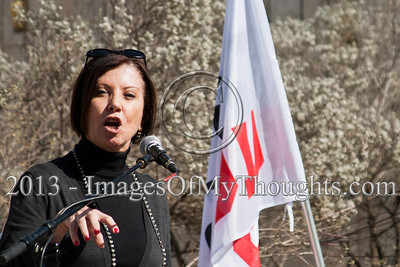 """Zahava Galon, Chairperson of the Meretz Party and Knesset Member, addresses attendees at a commemoration ceremony; """"Thirty years later nothing has changed."""" Jerusalem, Israel. 10-Feb-2013.  """"Peace Now"""" leads a 30-year commemoration ceremony for activist Emil Grunzweig, murdered in 1983 by a grenade thrown by right-wing activist Yona Avrushmi at demonstrators calling for the resignation of Defense Minister Ariel Sharon."""