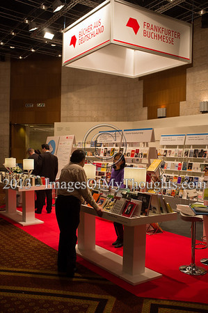 A German Frankfurter Buchmesse bookstand display at the Jerusalem International Book Fair. Jerusalem, Israel. 10-Feb-2013.  First held in 1963, the Jerusalem International Book Fair is a unique biennial event, business fair and a prestigious and important cultural event. 600 publishers and authors from more than 30 countries display more than 100,000 books.