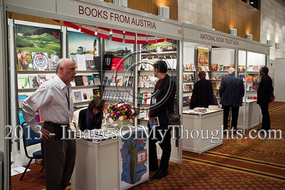 A bookstand at the Jerusalem International Book Fair displays books from Austria. Jerusalem, Israel. 10-Feb-2013.  First held in 1963, the Jerusalem International Book Fair is a unique biennial event, business fair and a prestigious and important cultural event. 600 publishers and authors from more than 30 countries display more than 100,000 books.