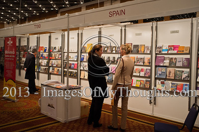 A Spanish bookstand at the Jerusalem International Book Fair. Jerusalem, Israel. 10-Feb-2013.  First held in 1963, the Jerusalem International Book Fair is a unique biennial event, business fair and a prestigious and important cultural event. 600 publishers and authors from more than 30 countries display more than 100,000 books.