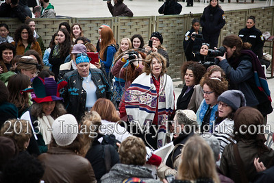 Anat Hofman (center), Executive Director of Women of The Wall, leads members in song and dance at the Western Wall, in defiance of rulings forbidding them to pray in the manner of orthodox Jewish men. Jerusalem, Israel. 11-Feb-2013.  Morning prayers celebrating the month of Adar were conducted today on the women's side of the Kotel by Women of The Wall, in defiance of rulings forbidding them to pray in the manner of orthodox men. Ten were detained by police for questioning.