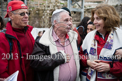 1967 Six-Day-War paratroopers, liberators of the Western Wall, meet with Anat Hofman (R), Executive Director of Women of The Wall, to show their support of religious freedom and pluralism. Jerusalem, Israel. 11-Feb-2013.  Morning prayers celebrating the month of Adar were conducted today on the women's side of the Kotel by Women of The Wall, in defiance of rulings forbidding them to pray in the manner of orthodox men. Ten were detained by police for questioning.