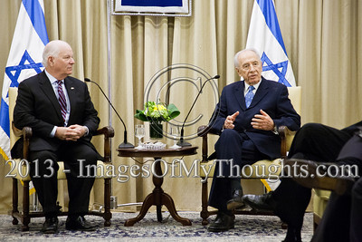 "President of Israel, Shimon Peres, welcomes a delegation of US senators and congressmen. Addressing changes in the region the Pres. said that Israel and the United States share the same purpose, ""to maintain freedom, liberty and human rights."" Jerusalem, Israel. 17-Feb-2013.  President of the State of Israel, Shimon Peres, conducts a work meeting in his residence with a bipartisan delegation of senators and congressmen led by Senator Ben Cardin who serves as co-chair of the Helsinki Commission."