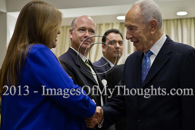President of the State of Israel, Shimon Peres, warmly welcomes a delegation of US senators and congressmen at the President's Residence. Jerusalem, Israel. 17-Feb-2013.  President of the State of Israel, Shimon Peres, conducts a work meeting in his residence with a bipartisan delegation of senators and congressmen led by Senator Ben Cardin who serves as co-chair of the Helsinki Commission.