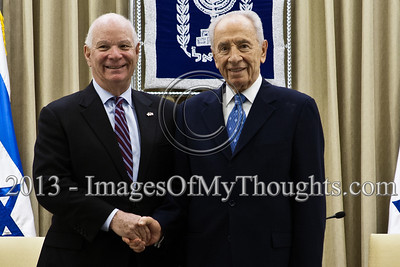 President of the State of Israel, Shimon Peres, and US Senator Ben Cardin shake hands at the onset of a meeting at the President's Residence. Jerusalem, Israel. 17-Feb-2013.  President of the State of Israel, Shimon Peres, conducts a work meeting in his residence with a bipartisan delegation of senators and congressmen led by Senator Ben Cardin who serves as co-chair of the Helsinki Commission.