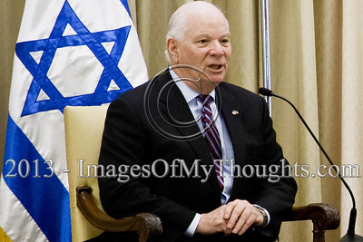 Sen. Ben Cardin, leader of a delegation to Israel, thanked President Peres for his warm welcome and said that the United States will continue to be a guarantor of Israel's security. Jerusalem, Israel. 17-Feb-2013.  President of the State of Israel, Shimon Peres, conducts a work meeting in his residence with a bipartisan delegation of senators and congressmen led by Senator Ben Cardin who serves as co-chair of the Helsinki Commission.