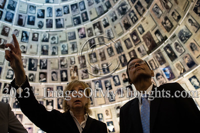 Professor Gamini Lakshman Peiris (R), External Affairs Minister of Sri Lanka, gazes up at enlarged Pages of Testimony displayed on the cone-shaped ceiling of the Hall of Names at Yad Vashem Holocaust Museum. Jerusalem, Israel. 26-Feb-2013.  The Minister of External Affairs of Sri Lanka, Prof. G.L. Peiris, visits Yad Vashem Holocaust Museum. The Minister toured the museum, participated in a memorial ceremony and signed the museum guest book.