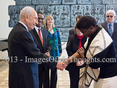Mr. Sisa Ngombane, newly appointed Republic of South Africa Ambassador to Israel, introduces his wife to President Shimon Peres at the President's Residence. Jerusalem, Israel. 28-Feb-2013.  Mr. Sisa Ngombane, newly appointed Republic of South Africa Ambassador to Israel, presented his Letter of Credence to the President of the State of Israel, Shimon Peres, in a formal ceremony at the President's Residence.