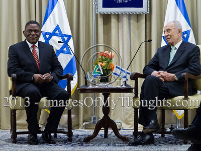 Mr. Sisa Ngombane, newly appointed Republic of South Africa Ambassador to Israel, at an introductory meeting with the President of the State of Israel, Shimon Peres. Jerusalem, Israel. 28-Feb-2013.  Mr. Sisa Ngombane, newly appointed Republic of South Africa Ambassador to Israel, presented his Letter of Credence to the President of the State of Israel, Shimon Peres, in a formal ceremony at the President's Residence.