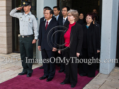 Mr. Ta Duy Chinh, newly appointed Socialist Republic of Vietnam Ambassador to Israel, departs the President's Residence with a military escort and honor guard as the Israeli National Anthem is played by the Israel Police Band. Jerusalem, Israel. 28-Feb-2013.  Mr. Ta Duy Chinh, newly appointed Socialist Republic of Vietnam Ambassador to Israel, presents his Letter of Credence to the President of the State of Israel, Shimon Peres, in a formal ceremony at the President's Residence.