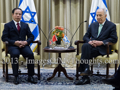 President of the State of Israel, Shimon Peres, and Mr. Ta Duy Chinh, newly appointed Socialist Republic of Vietnam Ambassador to Israel, hold an introductory meeting in which Peres welcomed the Ambassador and wished him success. Jerusalem, Israel. 28-Feb-2013.  Mr. Ta Duy Chinh, newly appointed Socialist Republic of Vietnam Ambassador to Israel, presents his Letter of Credence to the President of the State of Israel, Shimon Peres, in a formal ceremony at the President's Residence.