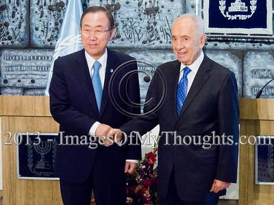 UN Secretary General Ban Meets Pres. Peres in Jerusalem