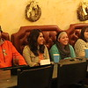 From left, Chadron State College students Kirby Krogman, Neyva Flores, Tricia Mitnik and Katrina Hurley participate in a panel discussion about their recent trip to Cuba Jan. 29 at the Bean Broker. (Tena L. Cook/Chadron State College)