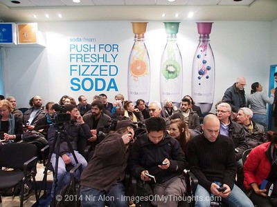 Feb. 2, 2014 - Mishor Adumim, West Bank - Huge media interest in press conference by SodaStream Mishor Adumim CEO. The Boycott, Divestment and Sanctions (BDS) movement has been leading a campaign against SodaStream (NASDAQ SODA), Israeli manufacturer of carbonated drink machines, with one of twenty two plants in the West Bank. Employment at SodaStream Mishor Adumim plant comprised of Palestinian Arabs, Israeli Arabs, and Israeli Jews, building bridges between Israelis and Palestinians.