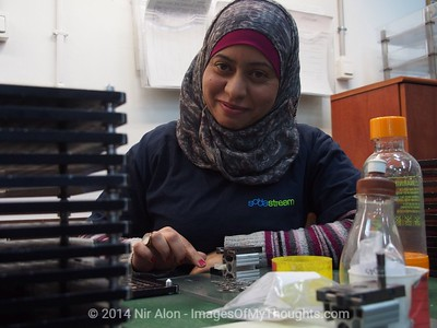 Feb. 2, 2014 - Mishor Adumim, West Bank - SAIDA ROMA, 28, resident of Jericho, has been working at SodaStream Mishor Adumim for four years. The Boycott, Divestment and Sanctions (BDS) movement has been leading a campaign against SodaStream (NASDAQ SODA), Israeli manufacturer of carbonated drink machines, with one of twenty two plants in the West Bank. Employment at SodaStream Mishor Adumim plant comprised of Palestinian Arabs, Israeli Arabs, and Israeli Jews, building bridges between Israelis and Palestinians.