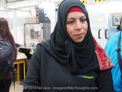 Feb. 2, 2014 - Mishor Adumim, West Bank - Undisclosed employee is married to a ten-year veteran officer in the Palestinian Authority Police and earns three times the salary of her husband, working at the Mishor Adumim SodaStream factory. The Boycott, Divestment and Sanctions (BDS) movement has been leading a campaign against SodaStream (NASDAQ SODA), Israeli manufacturer of carbonated drink machines, with one of twenty two plants in the West Bank. Employment at SodaStream Mishor Adumim plant comprised of Palestinian Arabs, Israeli Arabs, and Israeli Jews, building bridges between Israelis and Palestinians.