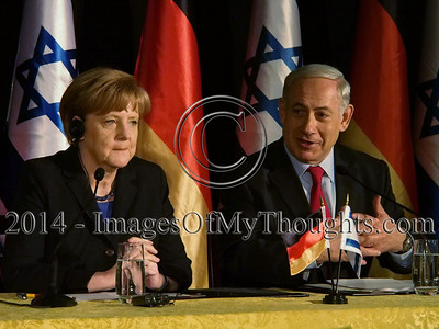 Chancellor ANGELA MERKEL of the Federal Republic of Germany and Israeli Prime Minister BENJAMIN NETANYAHU deliver statements at a joint press conference following a meeting of the two governments at Jerusalem's King David Hotel. Merkel is on a 24-hour visit in Israel with a delegation of 16 ministers.