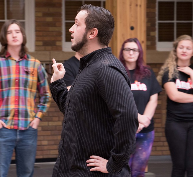 Chadron State College student Laven Adair of Hot Springs, South Dakota, demonstrates how to adopt a snobbish air during Theatre Day, Thursday, Oct. 8, 2015. (Tena L. Cook/Chadron State College)
