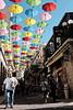 Umbrellas Cover Solomon Street in Jerusalem, Israel