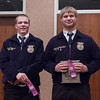 Kimball, represented by Joel Evertson, left, and Creek Valley, represented by Josh Schievelbein, right, earned a trip to the Nebraska State FFA competition by placing second and first, respectively, in Senior Parliamentary Procedure at Chadron State College during the District 12 National FFA Organization Leadership Contest, Nov. 16, 2016. (Photo by Conor Casey/CSC)