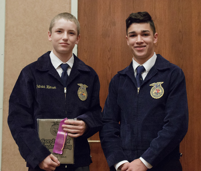 Creek Valley, represented by Patrick Hansen, left, and Cody-Kilgore, represented by Joe Libert, right, earned a trip to the Nebraska State FFA competition by placing first and second, respectively, in Conduct of Chapter Meeting at Chadron State College during the District 12 National FFA Organization Leadership Contest, Nov. 16, 2016.(Photo by Conor Casey/CSC)
